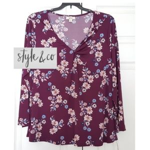 Style & Co Women's Top Blouse Long Sleeves, NWT